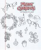 A set of Christmas items. Gifts, toys, garlands. Black contour. Set 2. — Stock vektor