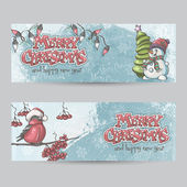 Set of horizontal banners for Christmas and the new year with a  — Stock Vector
