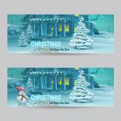 Set of horizontal banners with Christmas and New Year with the image of a snowy night with a snowman and Christmas trees — Stock Vector