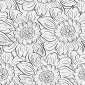 Seamless texture of hydrangea flowers. black contour — Stock Vector