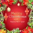 Greeting card with Christmas and New Year tree with branches, pine cones, toys, candy and flower — Vecteur #59108335
