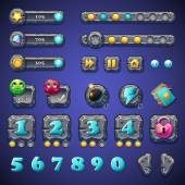 Set stone buttons, progress bars, bars objects, coins, crystals, icons, boosters and other ellementov for web design and user interface of computer games — Stock Vector