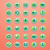 Big set of round buttons cartoon green for the game interface — Stock Vector