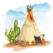 Illustration of the North American Indian tipi home with cactus and stones — Stock Vector