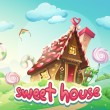 Illustration Gingerbread House with the words sweet house — Stock Vector #69804607