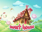 Illustration Gingerbread House with the words sweet house — Cтоковый вектор