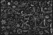 A large set of hand-drawn doodles summer, elements and objects. — Stock Vector