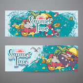 A colored set of horizontal banners with summer doodles — Vector de stock