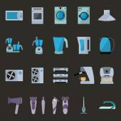 Set of household appliances flat icons with microwave, gas cooker, extractor hood, food processor, water filter, kettle, air conditioning, coffee machine, dryer, shaver, vacuum and Iron — Stock Vector