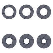 Set of black camera shutter icons on white background. — Stock Vector