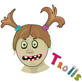 Scary girl troll — Stock Vector
