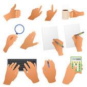 Hands in the office — Stock Vector