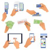 All for business payments human hands holding credit cards, POS terminal, redit cards and check, online payments, hand with money, wireless payment — Stock Vector