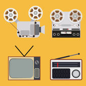 Flat design retro objects with a film projector, tape recorder, TV and radio — Stock Vector