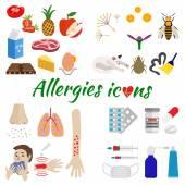 Allergy icons set — Stock Vector
