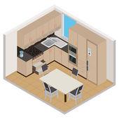 Vector isometric kitchen interior — Cтоковый вектор