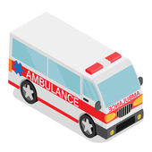 Isometric ambulance car — Stock Vector
