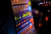 Equipamento de botões para controle de mixer de som — Fotografia Stock