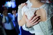 Wedding dance of bride and groom — Stock Photo