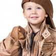 Fashion little boy wearing a leather jacket — Stock Photo #59662935