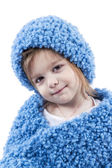 Portrait of little girl in blue winter clothes — Stock Photo