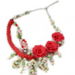 Handmade necklace with red rose — Stock Photo #74145645