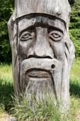 Face carved in wood — Stock Photo