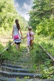 Two girls go by railway — Stock Photo