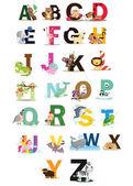 Animal Letter Vector Set — Stock Vector