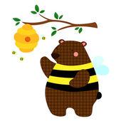 Honeybee Bear — Stock Vector