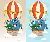 Monster in Air Balloon — Stock Vector