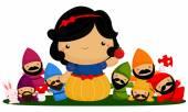 Princess and seven dwarfs — Stock Vector