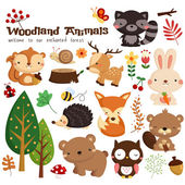 Woodland Vector Set — Stock Vector