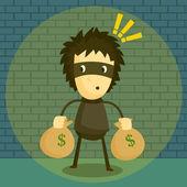 Catching Burglar — Stock Vector