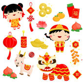 Chinese New Year Vector Set — Stock Vector