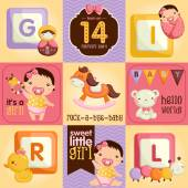 Baby Girl Square Card — Stock Vector