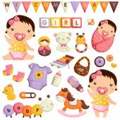 Baby Girl Vector Set — Stock Vector