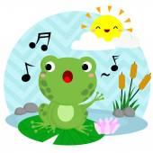 Singing Frog — Stock Vector