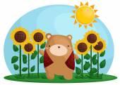 Sunflower Bear — Stockvektor