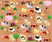 Farm Animal Background — Stock Vector