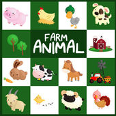 Farm Animal Vector Set — Stock Vector