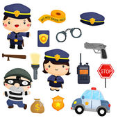 Police and Robber — Stock Vector