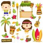Hawaii Kids Vector Set — Stock Vector #77822330