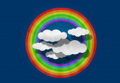 Paper Cutting,  Rainbow  and Cloud — Stockfoto