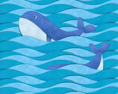 Blue whale at sea — Stock Photo