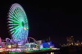 Yokohama Cosmoworld panoramic view over the bridge, Japan — Stock Photo