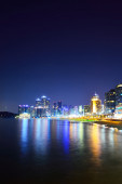 Skyline at night with Haeundae district in Busan, South Korea — Stock Photo