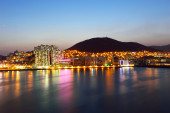 Skyline of Suyeong distric at night, Busan, South Korea  — Stock Photo