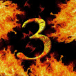 Digit number 3 three. Fire alphabet letter cracked isolated on black — Stock Photo #52488291
