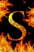 S fire letter cracked on black background  — Stock Photo
